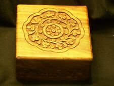 Hand Carved Wooden Jewelry Stash Box