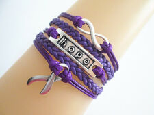 Infinity/Hope/Cancer Awareness Ribbon Sign Leather Friendship Bracelet Purple