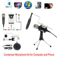 3.5mm Wired Condenser Microphone KTV Karaoke Mic with Stand For Computer Phone