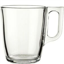 Six Large Luminarc Nuevo Clear Glass Tea Coffee Chai Cappuccino Cups Mugs 320ml