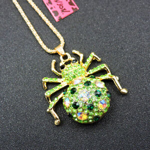 New Betsey Johnson Rhinestone Crystal Green Spider Pendant Necklace Chain