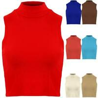 Ladies Sleeveless High Polo Turtle Neck Plain Stretch Vest Crop Top 8 10 12 14