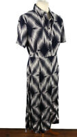 M&S Size 12 Navy Blue White Short Sleeve Collared Dress Geometric Midi