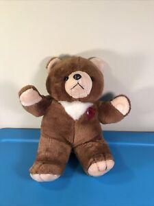 "Vintage Brown Teddy Bear Heart Valentine 15"" Plush Christmas No Sound"
