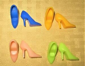 VINTAGE REPRO BARBIE 4  CLOTHES YELLOW GREEN BLUE PEACHY PINK SPIKES SHOES LOT