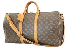 Authentic LOUIS VUITTON Keepall Bandouliere 50 Monogram Canvas Duffel Bag #37534