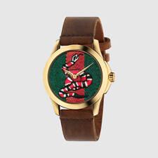 GUCCI Medium G-Timeless YA1264012  Snake Insignia Leather Strap Watch