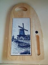 Vintage Delft Blue and White Windmill Tile Cheese Cutting Board
