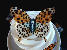 15 *PRE-CUT* LARGE LEOPARD BUTTERFLIES EDIBLE CUP CAKE RICE WAFER PAPER TOPPERS