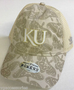 NCAA Kansas Jayhawks Womens Adidas Snapback Meshback Curve Brim Slouch Cap Hat