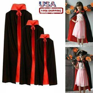 Halloween Black Red Vampire Cape Dracula Devil Cloak Kids Fancy Dress Costume US