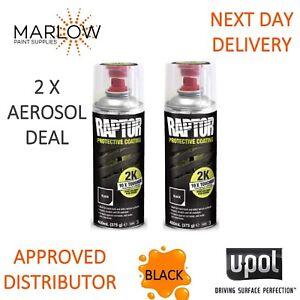 2 X UPOL RAPTOR 2K TOUGH BED LINER U-POL PROTECTOR    400ML AEROSOL -  BLACK