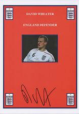 DAVID WHEATER Signed 12x8 Print BOLTON WANDERERS FC & ENGLAND COA