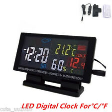 Universal In-Car Voltmeter Clock Thermometer Hygrometer Weather Forecast LCD New