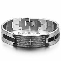 Men Vintage Stainless Steel Cross English Bible Lords Prayer Religious Bracelet