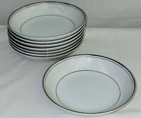 "8 Imperial China *DALTON SINCERITY*WHITE & PLATINUM* 5 3/4"" DESSERT BOWLS"