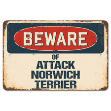 Beware Of Attack Norwich Terrier Rustic Sign SignMission Classic Decoration