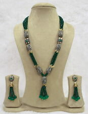 Babosa Sakhi High Quality Antique Green Onyx Beads Long String Necklace Set tA3