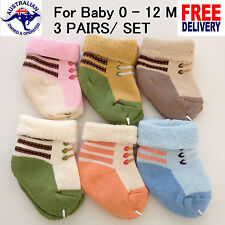 3 PAIRS/ SET Quality Baby Girls Boys Socks Size 0 - 12 Month