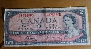 Vintage Canadian Money $2 dollar bill circulated Bank of Canada