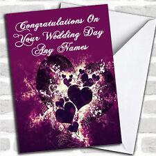 Purple Hearts And Swirls Romantic Wedding Day Customised Card