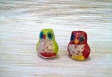 2  Mini Owl Birds Dollhouse Miniatures Animals Ceramic Collectibles Garden Decor
