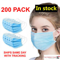 200 PCS Face Mask Medical Surgical Dental Disposable 3-Ply Earloop Mouth Cover