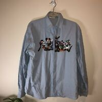 Vintage 90s 80s Disney Shirt Button Up Embroidered Mickey Denim Embroidered  L