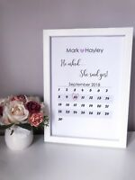 Personalised He Asked Calendar Engagement Print Unique Couple Gift Frame