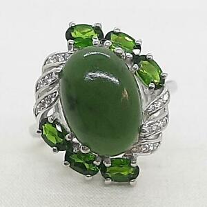 8.60ct Nephrite Jade, Chrome Diopside & Diamond Cut White Sapphire 925 Ring