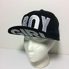 BOY London Black Hat Cap Logo White Embroidered GIRL Printed Under Bill Snapback