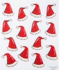 Christmas Glittered Santa Hats Scrapbook Stickers
