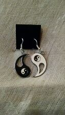 "Yin Yang EARRINGS Tai Chi Punk Yoga Occult Gothic ""Protection Blessed"""