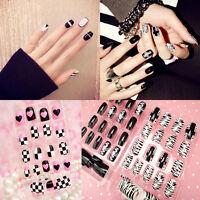 New Black&White French False Nails Nail Art Design Nail Tips With Glue 24pc/Pack