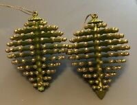 Pine Cone Christmas Ornaments Green Glitter Embellished Modern Holiday Lot Of 2