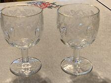 """Stem Glass 16 oz Etched Grape Vine Gold Rimmed 6"""" Goblet Wine Water Glass Set 2"""