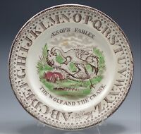 ABC CHILD'S PLATE AESOP'S FABLES THE WOLF AND THE CRANE STAFFORDSHIRE ANTIQUE