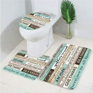 3 Pieces Education Wooden Plank Memory Foam Bath Mat Sets Family Warm Words Set
