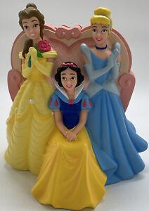 "Disney Store 3 Princess Princesses Piggy Bank Cinderella Belle Snow White 9"""