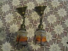 VINTAGE FROSTED (PAIR) ART DECO PAINTED HANGING LAMPS W/ SHADES & CAP #121