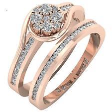 Bridal Matching Wedding Ring I1 H 1.10Ct Real Diamond 14K Rose Solid Gold 8.85MM