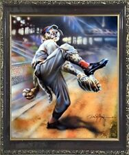 Dog Playing Old Time Baseball Motivational Sports Fine Wall Decor Framed Picture