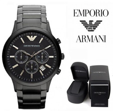 NEW EMPORIO ARMANI AR2453 BLACK STAINLESS STEEL CHRONOGRAPH MENS RENATO WATCH