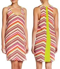 NWT CHARLIE JADE Print 100% Silk Sleeveless Racerback Shift Dress Large L