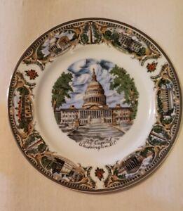 """Vintage Porcelain 10.5 """"The Capital Washington, D.C."""" Souvenir Collectible Plate"""