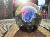 Dynasty Gallery Art Glass Paperweight Jellyfish Blue Grey GLOW'S IN THE DARK