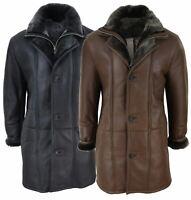 Mens 3/4 Duffle Jacket Real Sheepskin Long Smart Casual Button Zip Warm