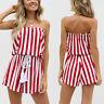Women Summer Fashion Stripe Tops+Shorts+Belt Sleeveless Romper Jumpsuit Playsuit