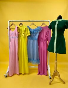 JOB LOT OF 10 x VINTAGE DRESSES. MIX OF COLOURS, SIZES AND STYLES.