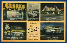 Clark's Restaurants Seattle Washington wa multi views old linen postcard